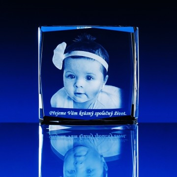 3D GLASFOTO  80x80x40 mm
